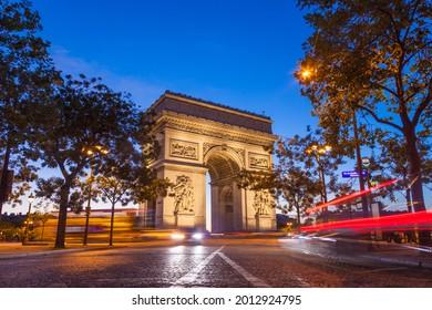 Night view of Arc de Triomphe - Triumphal Arc in Paris, France