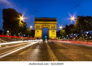 Night view of Arc de Triomphe, Paris.