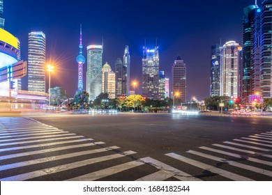 Night view of architectural street in Lujiazui Financial Distric
