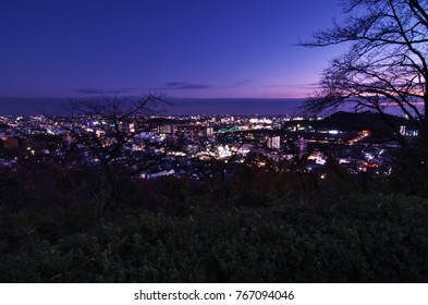 "Night view of Ashikaga city from ""Orihime park"" in TOCHIGI Prefecture, Japan. December 2, 2017."