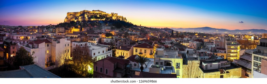 Night view of Athens, Acropolis , Greece, Europe