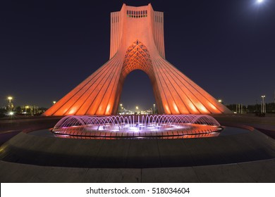Night view of Azadi tower (Liberty tower) in Tehran, Iran. Formerly known as Shahyad Tower, King's Memorial Tower : October 5, 2014