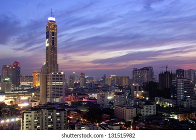Night view of Baiyok II tower and surroundings buildings Bangkok, Thailand