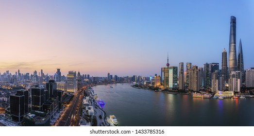 Night view of the banks of the Huangpu River in Shanghai