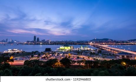 Night view of  Banpo Hangang Park and Han river in Seoul city.