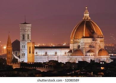 Night View of  Basilica di Santa Maria del Fiore,the cathedral (Duomo) of Florence