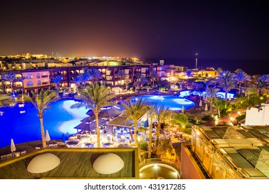 night view of the beautiful pool