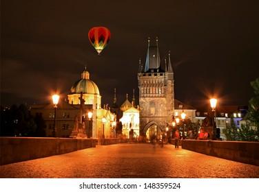 The night view of the beautiful Prague City along the River Vltava
