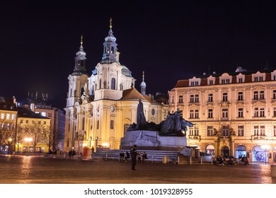 A night view of the beautiful St. Nicholas Church located in the historic Old Town Square in the city of Prague, Czech Republic.