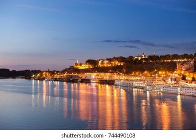 Night view of Belgrade's Sava River waterfront area
