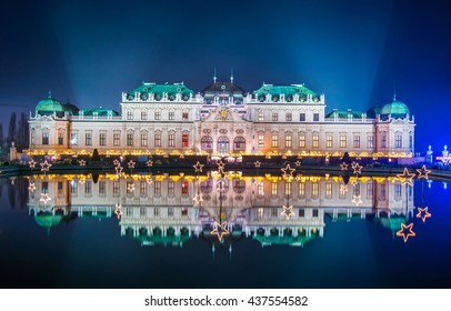 Night view of belvedere palace in vienna during christmas time