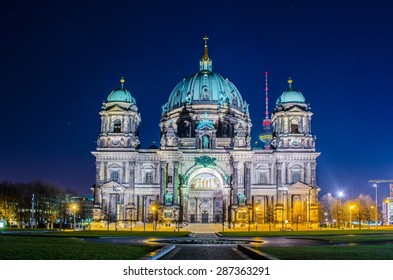 night view of berliner dom cathedral in berlin.
