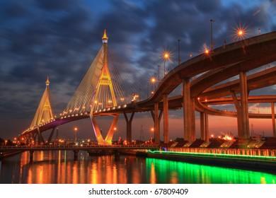 Night view of the Bhumibol II bridge (Bangkok, Thailand)