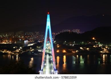 Night view of big bridge