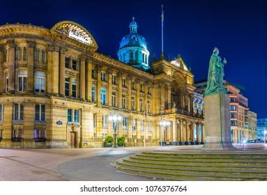 Night view of the Birmingham Museum & Art Gallery, England