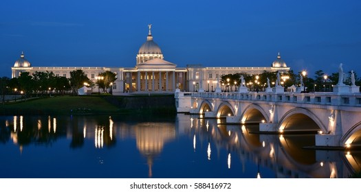 Night view, blue hours and reflections in Chimei Museum, Tainan, Taiwan