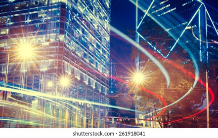 Night View of Blurry Lights in a City