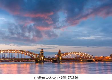 Night view of the Bolsheokhtinsky Bridge (Peter the Great's bridge) in St. Petersburg, Russia