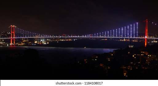Night View of Bosphorus (Bogazici) Bridge