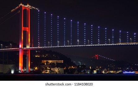Night View of Bosphorus (Bogazici) (front) and Fatih Sultan Mehmet (behind) Bridge