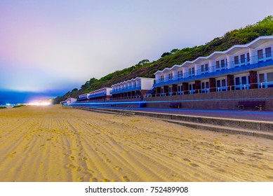 Night view of Bournemouth beach huts