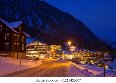 Night view of the Brand (Austrian ski resort),  Bludenz, Vorarlberg, Austria.