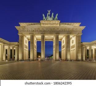 Night view of Brandenburg Gates Brandenburger Tor in Berlin, Germany