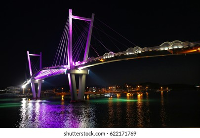 The night view of the bridge
