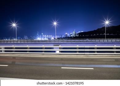 Night view of bridge highway in Dalian, China