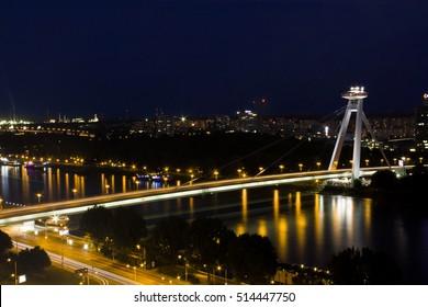 night view of bridge over Danube, SNP bridge UFO Restaurant