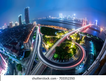 Night view of bridge, Shanghai, China