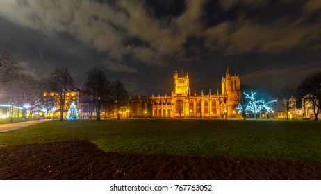 Night View of Bristol Cathedral at Christmas, Long Exposure Night Photography