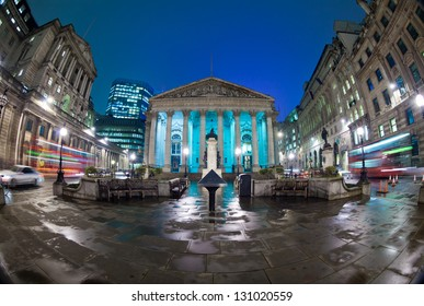 Night view of British financial heart, Bank of England and Royal Exchange. The photo was taken at a slow shutter speed wide-angle fisheye lens