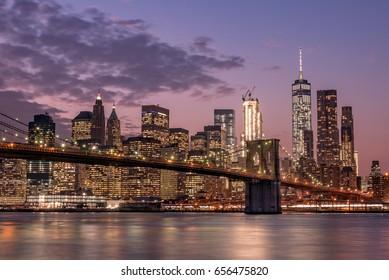 Night view of Brooklyn bridge and Skyscrapers in New York