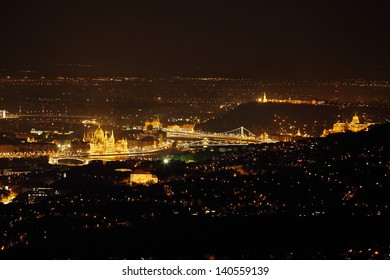 Night view of Budapest from a high point