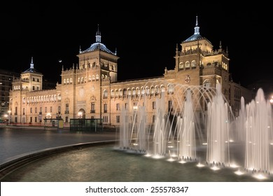 night view of the building of cavalry in the city of Valladolid, Spain
