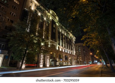 Night view of the building with illumination, Novosibirsk 2017