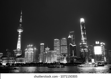 A night view of the Bund, Shanghai/China. In black and white