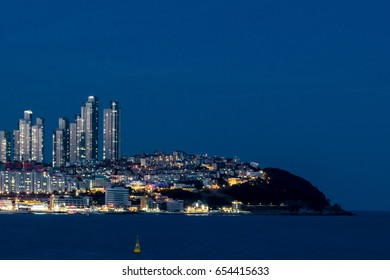 Night view of Busan Haeundae Beach