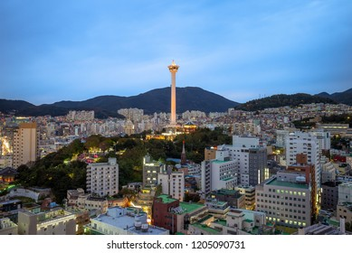 night view of busan with busan tower in korea