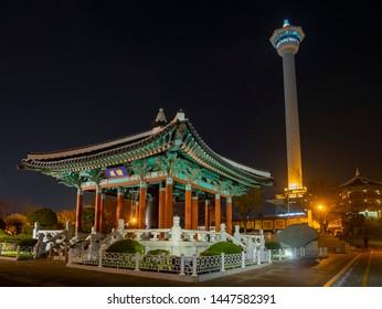 Night view of the Busan Tower and Yongdusan Park at Busan, South Korea