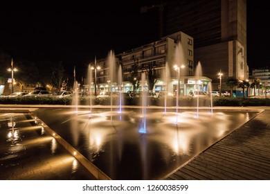 Night view of business center of Lido di Jesolo near Venice, Veneto region, Italy.