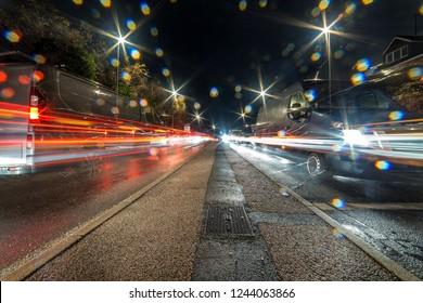 night view of busy uk motorway highway traffic