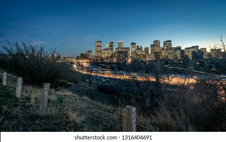 Night view of Calgary downtown, Canada