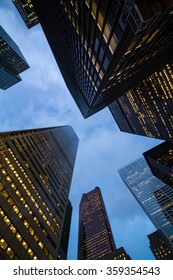 night view of canadian toronto city skyscrapers perspective