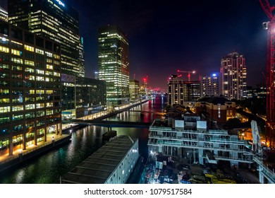 Night view of Canary Wharf taken in Canary Wharf, London, UK on 7 July 2017