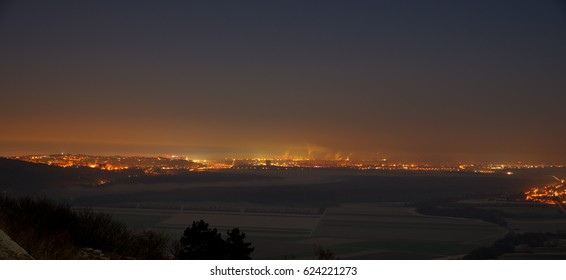 A night view of the capital Bratislava from Braunsberg, Hainburg an der Donau, Austria
