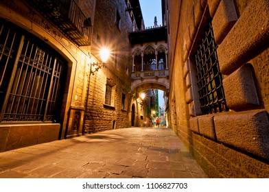 Night view of Carrer del Bisbe street located in the Gothic Quarter, Barcelona, Catalonia, Spain
