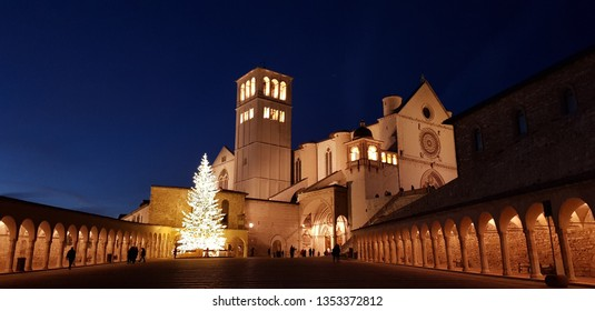 Night view of a Cathedral in Assisi