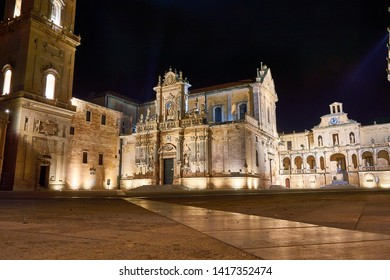 night view of the cathedral of lecce and his square, salento, the eastern part of apulia, italy